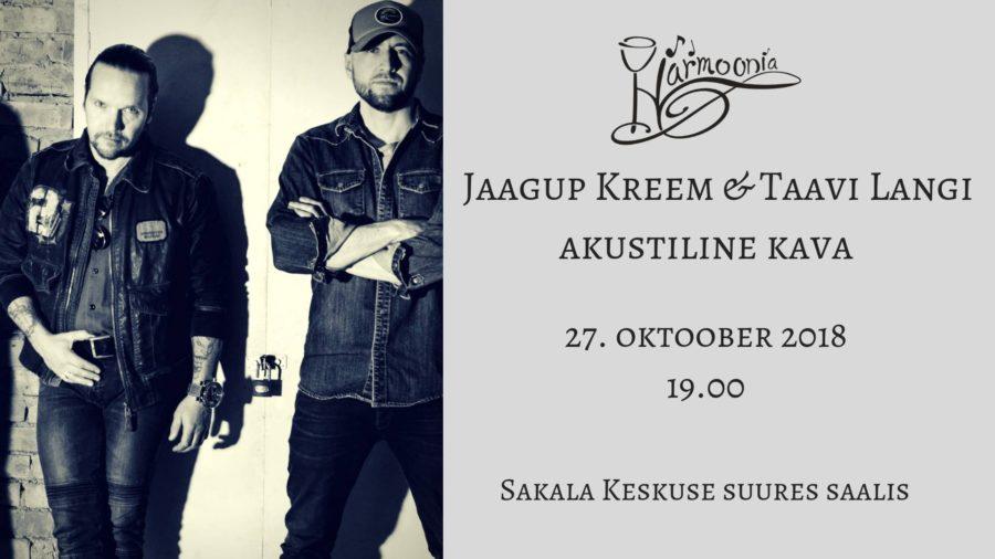 Kontsert-õhtusöök Jaagup Kreemi & Taavi Langiga 27.10.2018