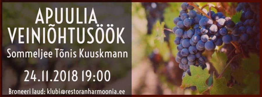 Harmoonia Veiniklubi – Apuulia Veiniõhtusöök 24.11.2018