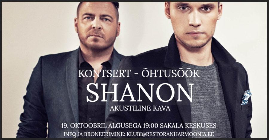 Kontsert-Õhtusöök SHANONIGA 19.10.2019